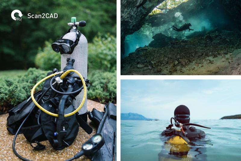 Scuba divers and dicing equipment