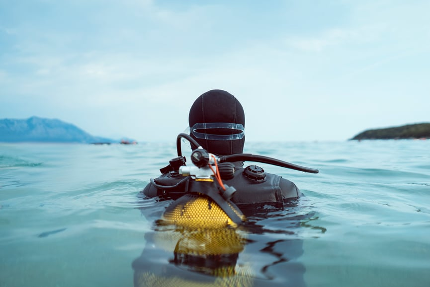 Back view of scuba diver entering the water.