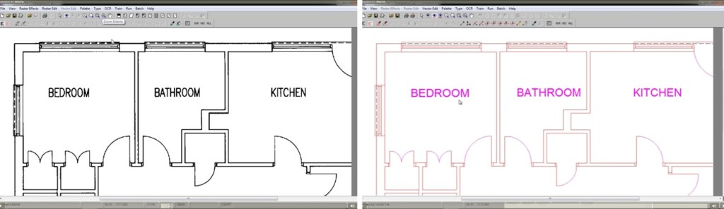 Floorplan before and after DXF Conversion - Raster to Vector - Scan2CAD