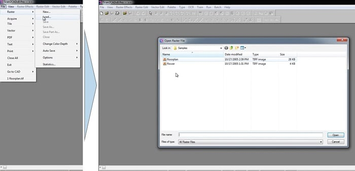 Scan2CAD Raster to vector conversion - Load raster image