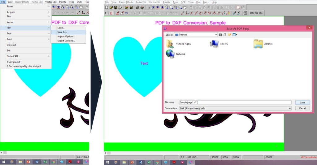 Using Scan2CAD Convert files from PDF to DXF - Save DXF file