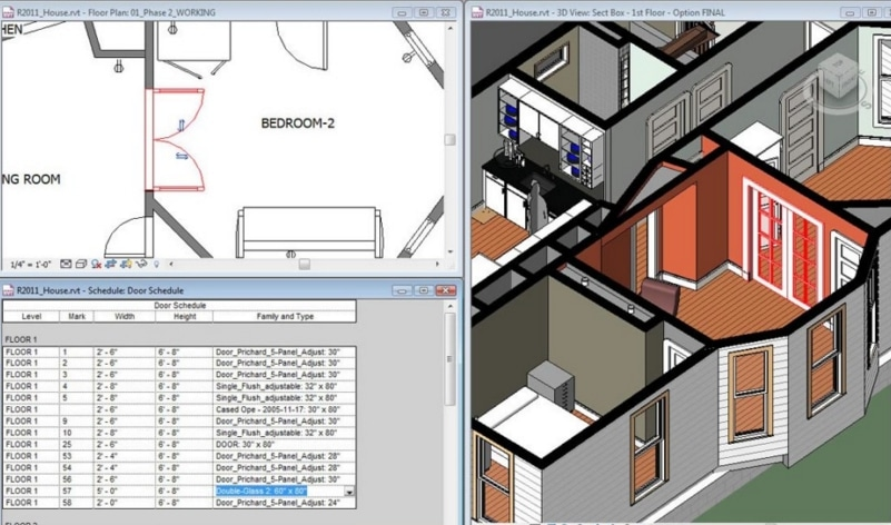 Sample DWG file of a house - with 2D, 3D and data