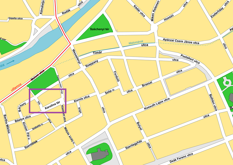 Vector map of Cluj-Napoca, Romania (Hungarian labels), with purple box highlighting area of zoom