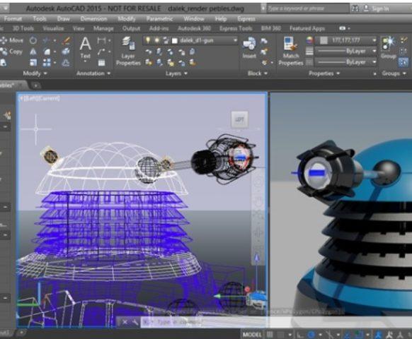 Compare it with AutoCAD 2015, complete with 3D Daleks! (Source: Mass-plc.com)