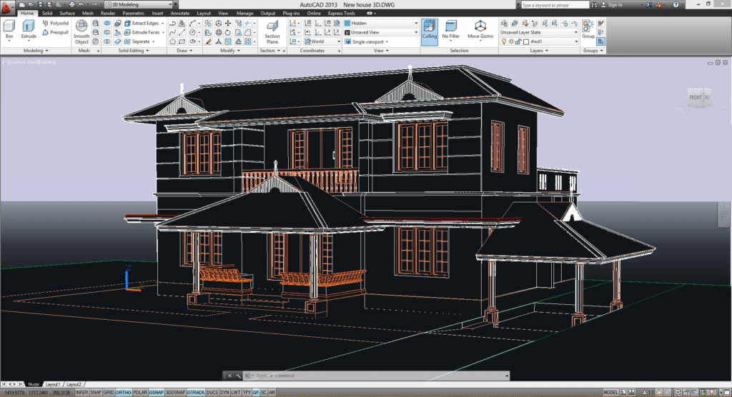 Screenshot of AutoCAD 2013 architectural drawing
