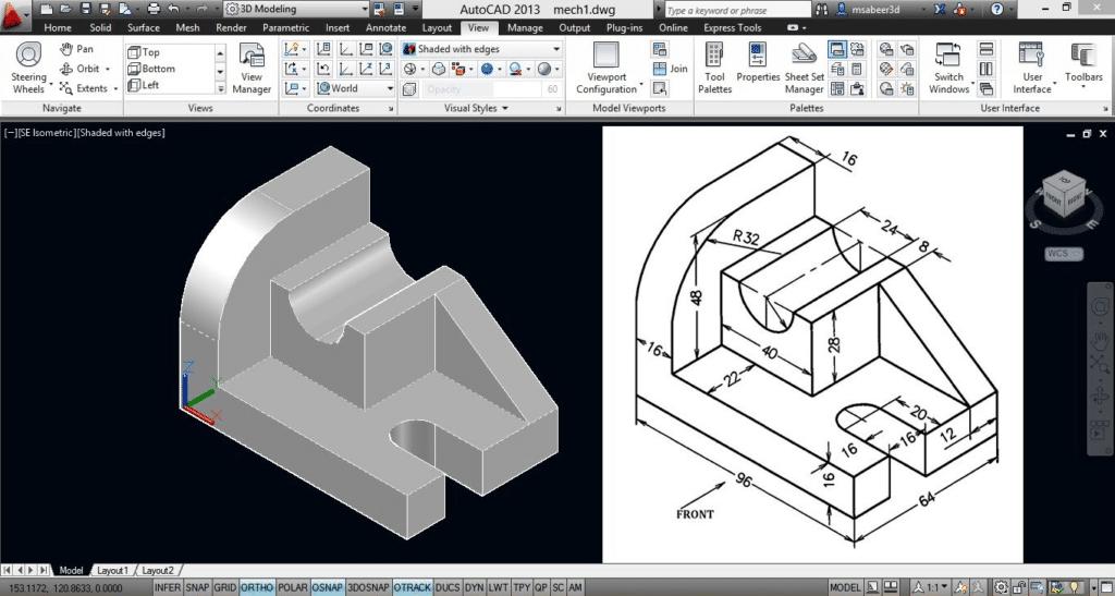 screenshot of AutoCAD 2013 engineering drawing