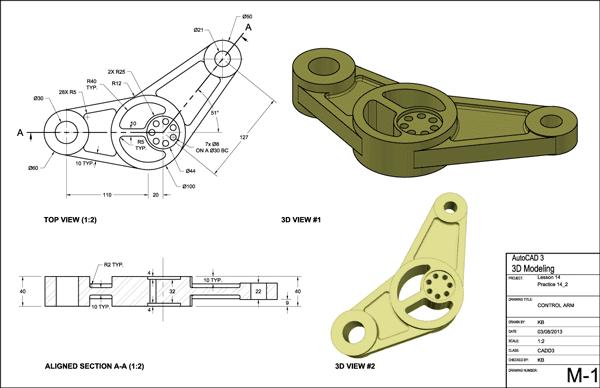 Screenshot of AutoCAD 2013 mechanical drafting