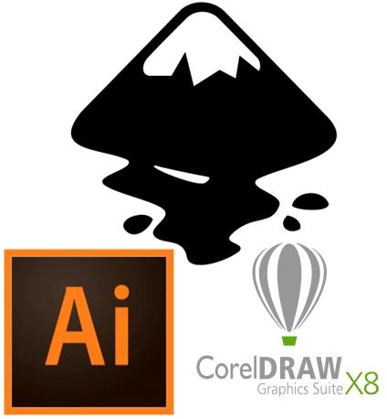 Logos for Inkscape, Illustrator and CorelDraw