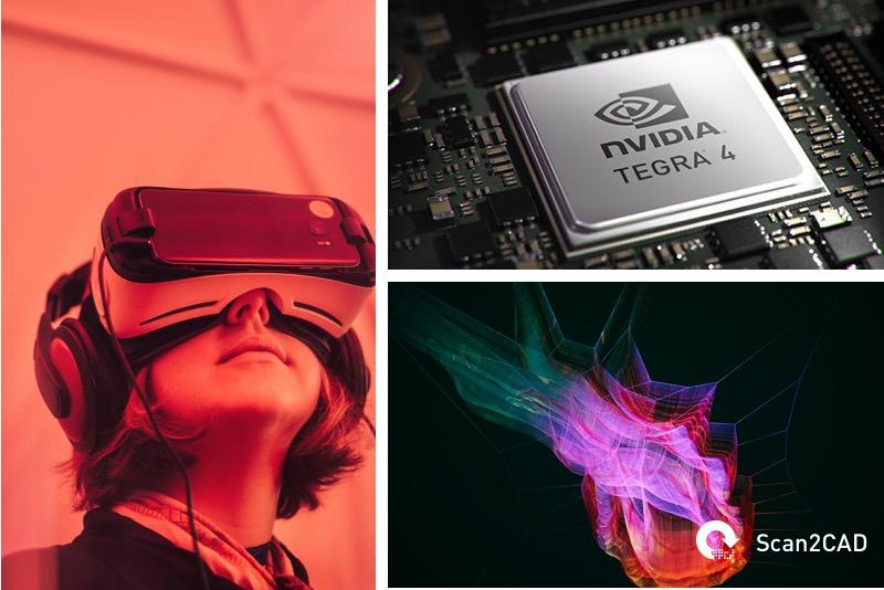 girls wearing virtual reality headset, Nvidia chip, graphic simulation