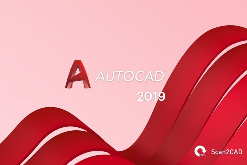 AutoCAD 2019 logo on wavy background