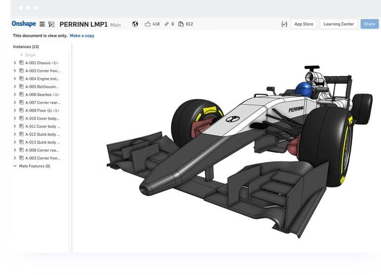 Screenshot of OnShape Software - F1 Car Model