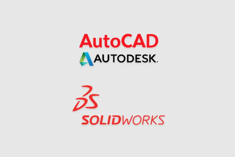 AutoCAD and SolidWorks logos