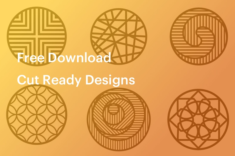 CNC designs on yellow background - free download, cut ready designs