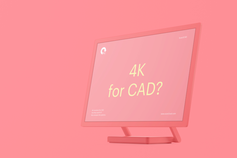 Pink mockup of computer monitor - 4K for CAD?