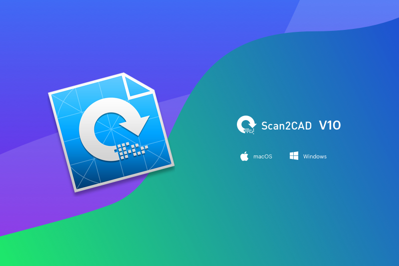 Scan2CAD v10 icon with Windows and MacOS icons on gradient background