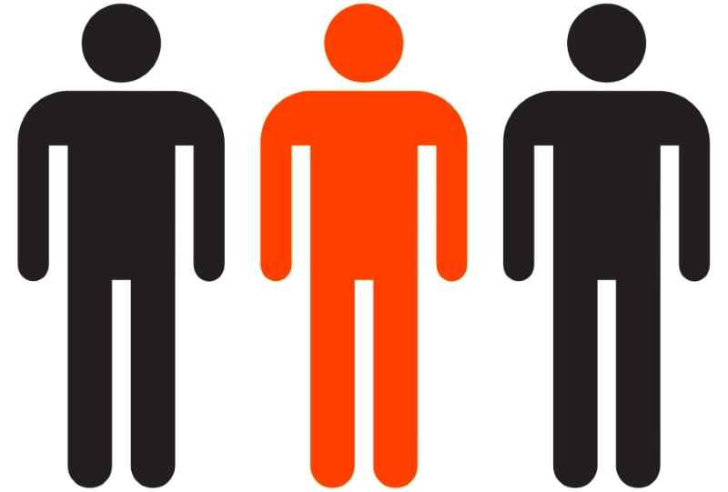 Middleman represented by male symbols