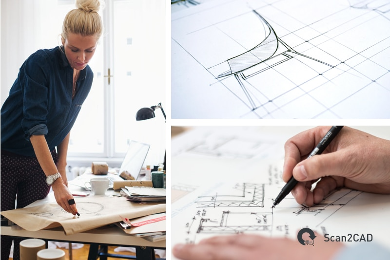 A woman hand drawing a product, a hand drawn furniture design, an architect drawing a design