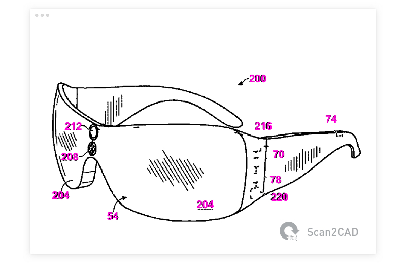 Glasses patent drawing with text converted using OCR