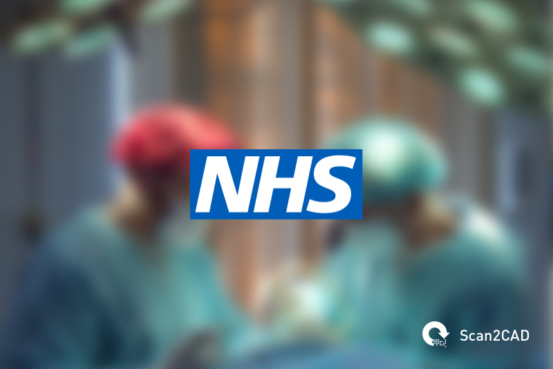 Two doctors in surgery, NHS logo