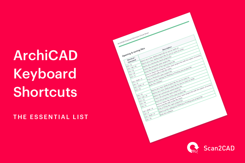 ArchiCAD Keyboard Shortcuts - PDF cheat sheet preview