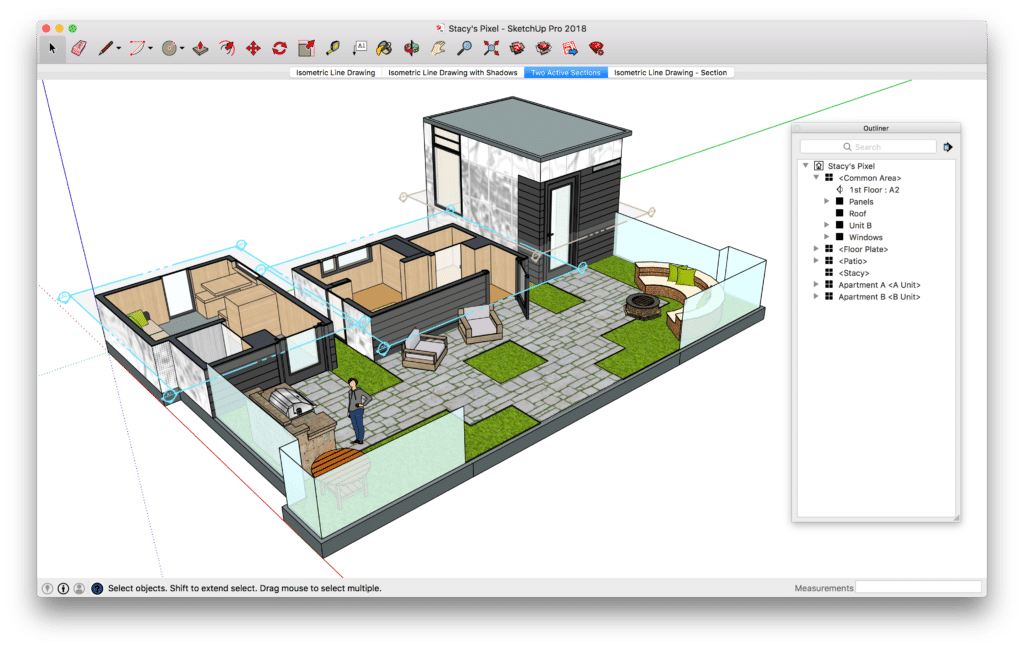 3D model of house and garden in Sketchup