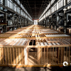 Pre-fab buildings in Factory-OS warehouse