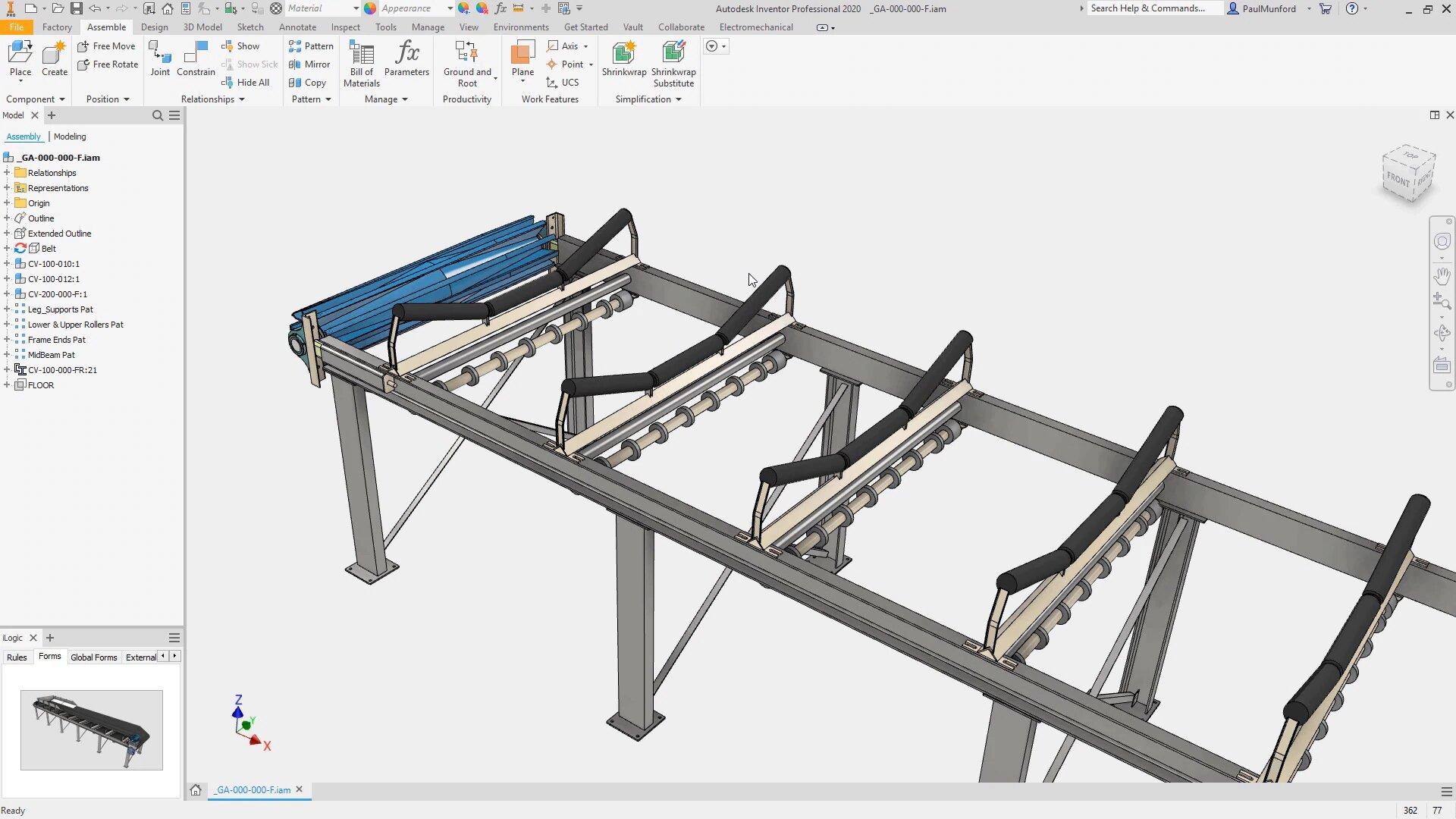Inventor 3D modeling screenshot