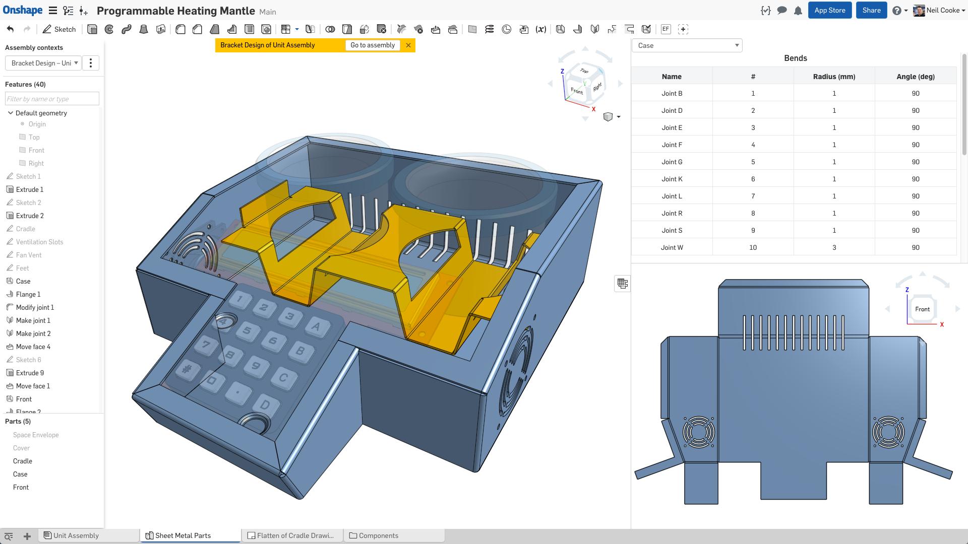 Onshape 3D modeling screenshot