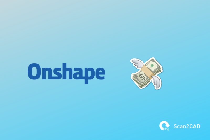 Onshape logo, flying cash emoji