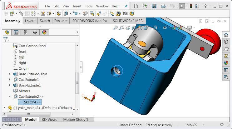 Solidworks 3D modeling screenshot