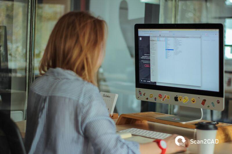woman using computer desk