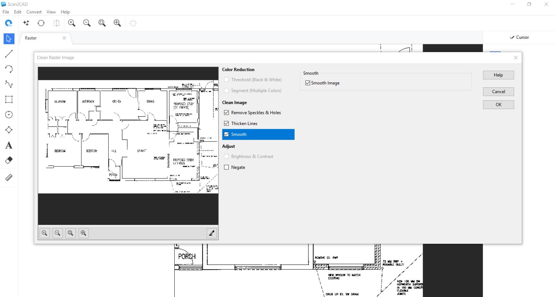 screenshot of scanned floorplan