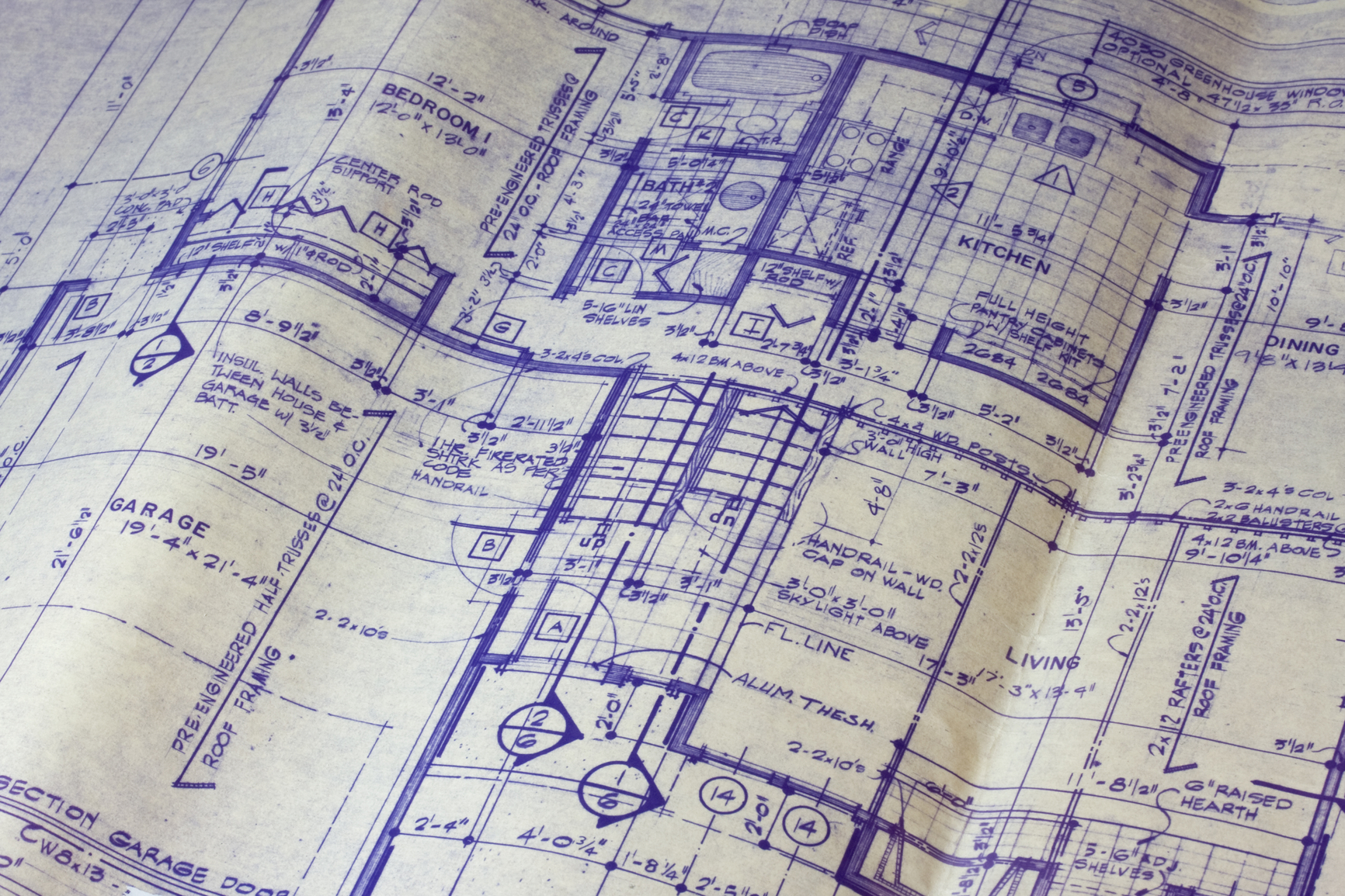 Detail of 40 years old house blueprint