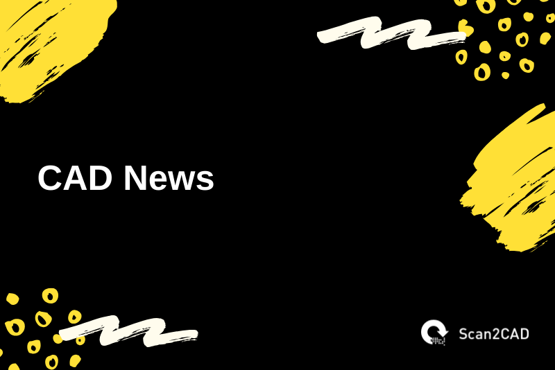 CAD News - yellow and white shapes on black background