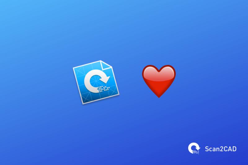 Scan2CAD app icon, heart emoji
