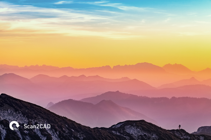 Colorful sunset in mountain range