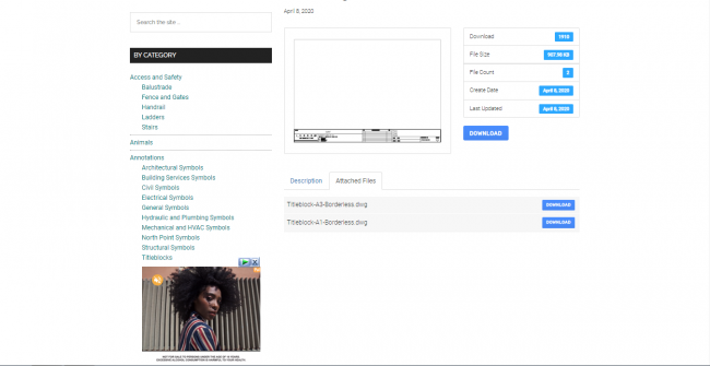 Screenshot of the free title blocks on the draftsperson.net website