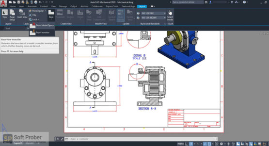 Black and white with gray 2D projection drawing of a 3d model drawn using autocad mechanical