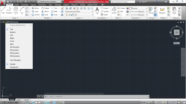 Black and white different sides appearing after clicking on top in autocad mechanical