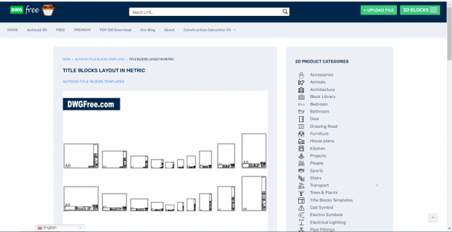Black, gray and white preview of a title blocks layout in metric in dwgfree website