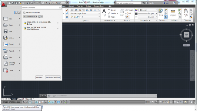 Black and white application menu button by autocad mechanical
