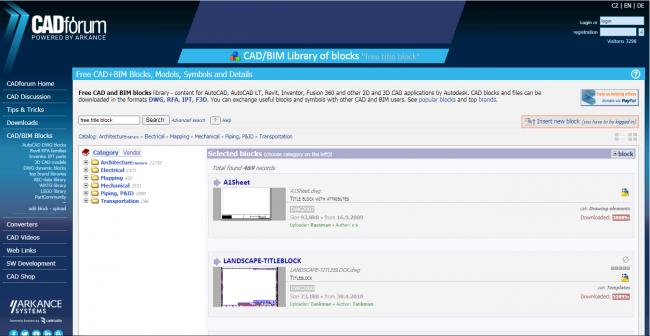 Dark blue, white and light blue screenshot of the cadforum website