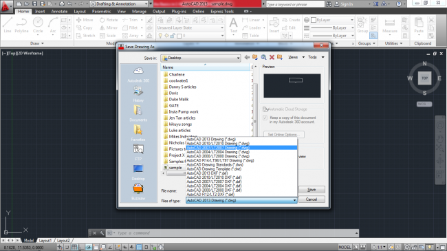 black and white selecting the file type to save your drawing in autocad mechanical