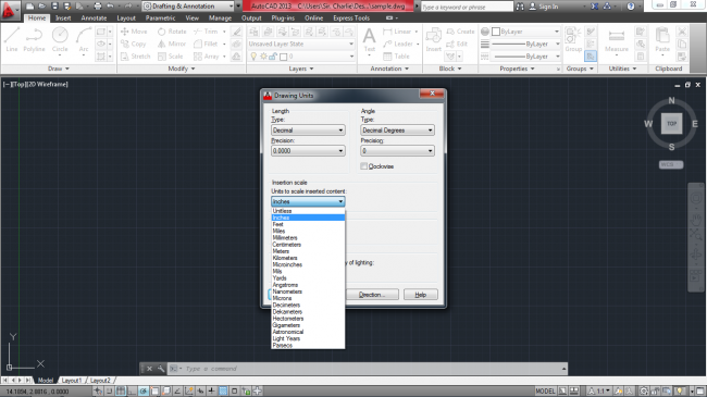 Black and white selecting units in autocad mechanical