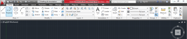 Black and white viewport controls set to top and 2d wireframe by default