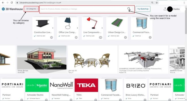 3d warehouse main page