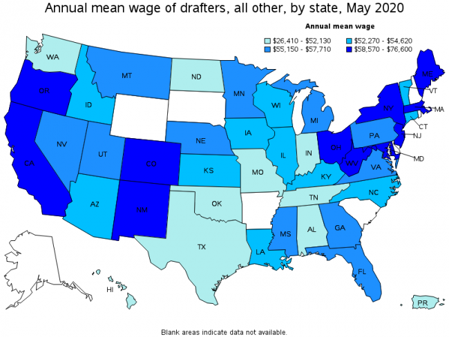 Average cad drafter salary per year in different states in the us