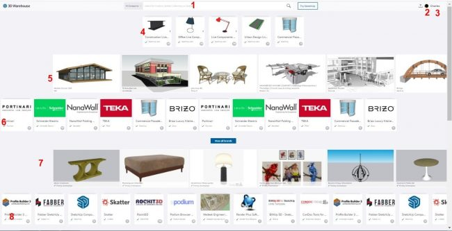 Different parts of the 3d warehouse main page
