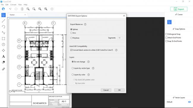 Dwg/dxf export options window