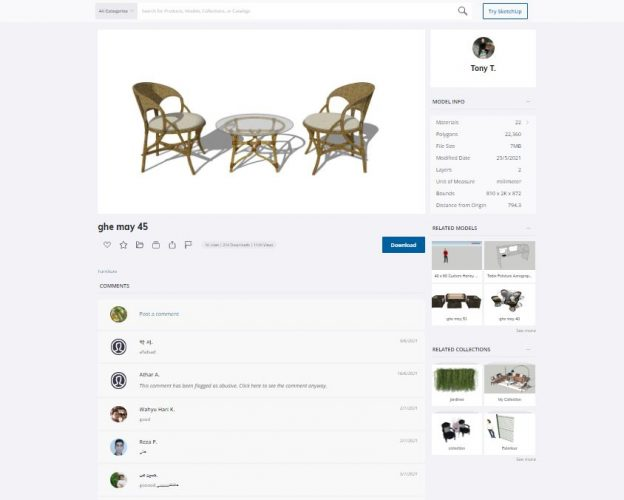 Example of a model details page